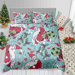 santa bedding sets Australia - Full Size Bedding Set Christmas Adult Creative Funny Santa Print Duvet Cover King Queen Single Twin Double Bed Cover with Pillowcase 3pcs
