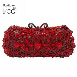 $enCountryForm.capitalKeyWord UK - Boutique De FGG Red Ruby Crystal Diamond Women Metal Evening Clutches Bags Wedding Minaudiere Clutch Bridal Handbags Purses