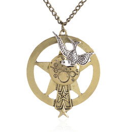 superman chains Australia - Classic Steampunk necklace Mens Five Star Superman swallow on disc for Men Women