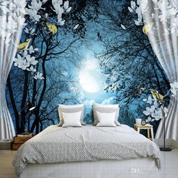 paper bird houses NZ - Custom Wall Mural Paper 3D Window Night Forest Moon Flower Bird Nature Landscape Photo Wallpaper Living Room Bedroom Wall Decor