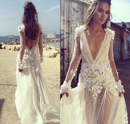 Red Long Dress Marriage Australia - Sexy Boho Beach Wedding Dresses 2019 V Neck Long Sleeves Appliques Lace 3D Flowers Backless Party Gown Bride Dress Bridal robe de marriage