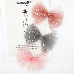 white pearl mesh Canada - 2020 New Fashion Pearl Mesh Bow Hairpin For Women or Girl Head Clip Girl Hairpin OPen Hairpin Mesh headdress Headwear ornament