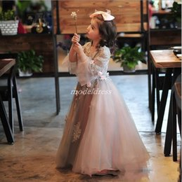 3d girls pictures Australia - Fairy Girls Pageant Dresses 2019 Jewel Long Trumpet Sleeves Floor Length 3D Flowers Appliques Child Birthday Party Gowns Flower Girl Dress