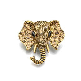 $enCountryForm.capitalKeyWord Australia - Retro Gold Silver Color Elephant Brooch Crystal Charm Cute Elephant Pin Shirt Collar Suit Vintage Pins Wedding Party Jewelry