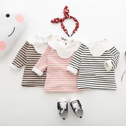 $enCountryForm.capitalKeyWord NZ - Baby Girls Clothes 2019 Winter Top Peter Pan Collar Kids T Shirts Long Sleeve Baby Striped Velvet Sweatshirt Baby Girl Clothing
