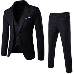 Laamei Mens 3 Peças (jaqueta + Colete + Calças) Masculino Busines Vestido Slim Fit Ternos Sólida Ternos Escritório Casuais Outwear Asiático L = us Xs Y190418 em Promoção