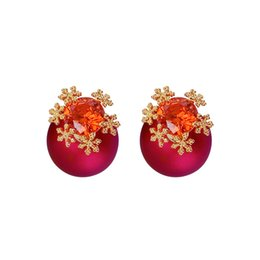$enCountryForm.capitalKeyWord UK - New South Korean Silver Needle Allergy Resistant Snowflake Red Ball Earrings Accessories Fashion Zircon Earrings