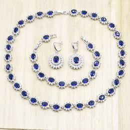 $enCountryForm.capitalKeyWord Australia - 925 Silver Jewelry Sets for Women Flower Shape Royal Blue Semi-precious Necklace Earrings Bracelet Party Wedding Bridal Jewelry