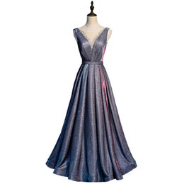Gown eveninG dress scoop neck online shopping - Beaded Sheer Neck Evening Dresses with sequins Floor Length Evening Prom Gowns Gray Long Formal Dress