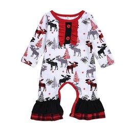 White jumpsuit child online shopping - Autumn Spring Girls cotton Dress Children Clothing deer printing Christmas plaid Long Sleeve Dresses Baby Girl Kid Ruffles jumpsuit