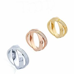 Screw Rings NZ - High Quality Fashion Lady 316 Titanium Steel Double Rows Full Diamond Screw Wedding Engagement 18K Gold Plated Narrow Two Rings Size6-9