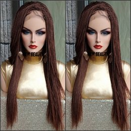 Braids senegalese hair online shopping - Fully Handmade medium brown color Senegalese Twist wig micro braided wig synthetic Braided full lace front Wig with baby hair