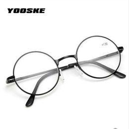 d4429df7389d YOOSKE Retro Men Women Round Mirror Reading Glasses For Harry Potter Metal  Frame Glasses Mirror Personalized + 100...+400