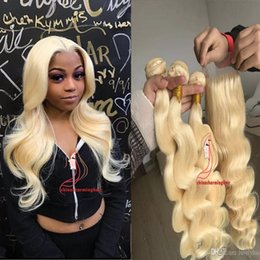 $enCountryForm.capitalKeyWord Australia - Full Head #613 Blonde Body Wave Virgin Hair 3 Bundles With Lace Closure Brazilian Blonde Human Hair Weaves With Top Closure