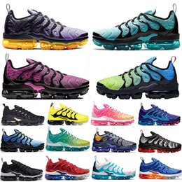 cheaper running shoes NZ - Cheaper New TN Plus Regency Purple running shoes Hyper Violet Lemon Lime Be True triple black Rainbow Women mens trainers sports sneakers