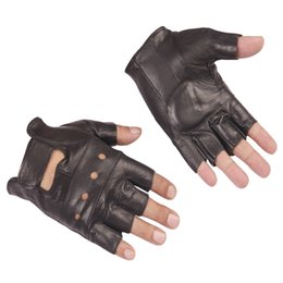 Leather Half Gloves Australia - Genuine Leather Half Finger Gloves Men Summer Breathable Driving Semi Finger Male Sheepskin Glove Unlined for Fitness riding
