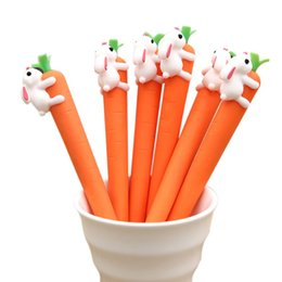 Rabbit Pens Australia - 1 Pcs White Rabbit Love Carrot Students Black Neutral Pen Cute Cartoon Creative Gel Pen Office Signature School Stationery