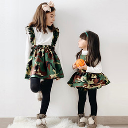 camouflage tutu Australia - Baby Camouflage Suits Girls Solid Tops Print Romper+ strap tutu Dress Sister Set Princess Christmas kids Party Suits 12M-4Y