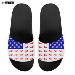 unisex sandals Canada - HYCOOL Fashion Unisex Beach Slippers American Flag With Dachshund Dog Design 3D Printed Cool Flip Flop Couple Shoe Slide Sandal