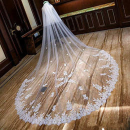 long romantic veils NZ - Romantic 2019 Wedding Veils Cathedral Length Bridal Veils Lace Edge with Blusher Face Appliqued 3m Long 2T Customized
