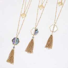 necklaces pendants statement brand jewelry 2019 - Fashion Abalone Shell Kendra Style Necklace Hexagon Geometry Statement Multilayer Necklace For Women Brand Jewelry cheap
