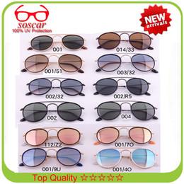 Discount double lens glasses brands - Round Double Bridge Sunglasses Soscar 3647N Brand Designer Sunglasses for Men Women Excellent Quality Glass Lens Summer