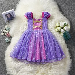 Purple Tutus For Girls NZ - Fancy Princess Girl Purple Gown Baby Kids Summer Dresses For Girl Tutu Party Clothes Children Cosplay Costume Birthday Dress