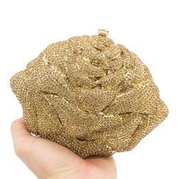 wedding gold crystals UK - Dgrain Wholesale Luxury Gold Evening Handbag Crystal Clutch Bag Floral Women Evening Bag Wedding Purse Bride Pochette Bags