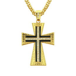 $enCountryForm.capitalKeyWord Australia - Male Silver Gold Color Crucifix Pendant Necklace Filled Rhinestone Hip hop Chain Statement Cross Necklace Jewelry Gift
