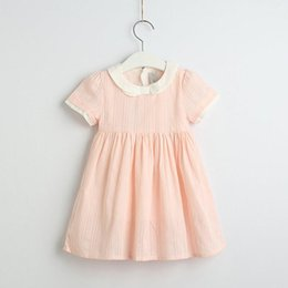 8bf39a0866393 2019 Summer Cotton Solid Dresses For Girls Princess, Children Sweet Boutique  Dress Pink 6 pcs lot, Wholesale