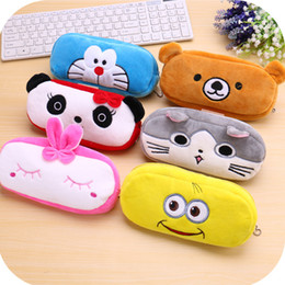 cute pens for kids 2019 - Cute School Students Bag Kawaii Kids Plush Pen Bag Box Cartoon Cat Bear Animals Stationery For Children Girls Boys cheap
