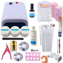 Uv Lamp Kits Australia - Nail Art Sets UV Gel Nail Set 36W UV Lamp Manicure Pedicure Tools Set Brush False Tips Extension Kit For Manicure