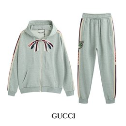 Jackets Embroidery Long Australia - 2019 new hot spring and autumn trend men and women with the same pattern letters embroidery long-sleeved couple jacket zipper bow set