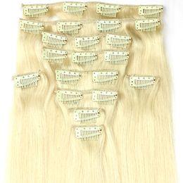 $enCountryForm.capitalKeyWord Australia - Queengirl Remy 613 Blonde Brazilian Clip Hair Extensions Natural Silk Straight Grade 10A High Quality Virgin Human Hair Products Attachment