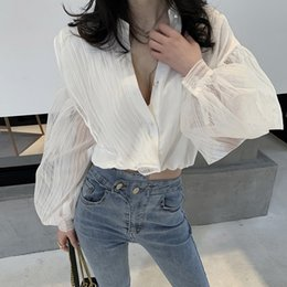 Women's Clothing Getsring Women Blouses Summer Tops Cotton White Shirt 2018 Spring Temperament Short Sleeve Gauze Spliced Womens Blouse Black Xl