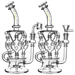 Wholesale Klein Recycler Tornado Percolator Glass Bong Wax Pipe Bongs Water Pipes Oil Dab Rigs With Heady Quartz Banger Or Herb Bowl dabber nail