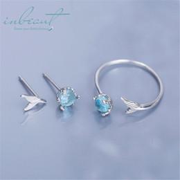 $enCountryForm.capitalKeyWord Australia - inbeaut Silver Mermaid Tail Ring Ocean Blue Round Zircon Fishtail Stud Earrings 925 Fairy Fish Jewelry Sets for Women Party