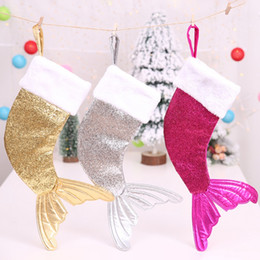 christmas sequins Australia - 18 inch Sequin Christmas Stockings Large Capacity Candy Bag Part Christmas Decoration for Home AB
