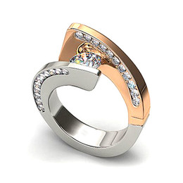$enCountryForm.capitalKeyWord Australia - 2019 Fashion Engagement Ring Two-tone Spiral Cz Band Wedding Rings For Women Wholesale Gold Silver Color Ring O5m301