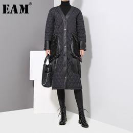 Parka Leather Sleeves Women Australia - [EAM] 2019 New Spring Women V-collar Long Sleeve Blcak Loose Pu Leather Pocket Cotton-padded Coat Fashion Parkas JK282