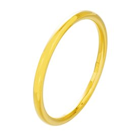 Womens Gold Bangle 18k Australia - 6mm thick Plain Smooth Classic Womens Bangle 18k Yellow Gold Filled Wedding Bracelet Solid Jewelry Drop Shipping