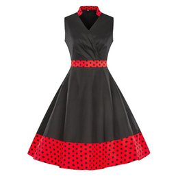 vintage pin up fashion UK - Summer Fashion Sleeveless V Neck Women Flower Polka Dot Printed Vintage Retro 50s 60s Rockabilly skater pin up dress plus size 4XL