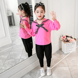BaBy sailor suits online shopping - Girl Baby Clothing Set Teenage Clothes Sailor Collar Top Harem Pants School Outfits Suit Kids Clothes Kids to Years