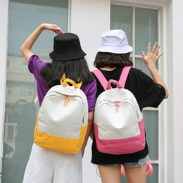school bags woman NZ - Fairy2019 Canvas Color Solid A Bag Woman Concise Leisure Time Wind Both Shoulders Package Middle School Student Joker Travel Backpack