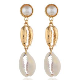 Earrings For Summer Australia - Tisonliz Bohemian Shell Long Tassel Dangle Earrings For Women New Summer Statement Gold White Shell Drop Earrings Big Pendientes