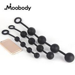 Ingrosso Silicone Plug anale Dilatatore vaginale perline anali Butt Plug con 4 palle Expander giocattoli del sesso vibranti per le donne uomini gay