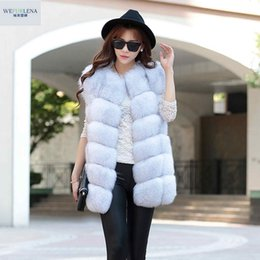 MediuM long vest online shopping - Real Fur Vest Fashion Winter Thick Silver Fur Coat Jackets for Women Sleeveless Medium Long Genuine Fur Vest Colete De Pele Y190916