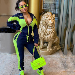 $enCountryForm.capitalKeyWord NZ - Fashion One Piece Sportsuit Patchwork Yellow Tracksuit Long Sleeve Zipper Coats Ladies Sports Suit Street Casual Women Yoga Set