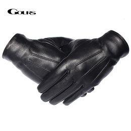 men gloves leather sheepskin NZ - GOURS Winter Gloves Men Genuine Leather Gloves Touch Screen Real Sheepskin Black Warm Driving Gloves Mittens New Arrival GSM050 T191112