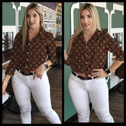 Wholesale blouse sold online – Women Brand Shirts letter print Blouses spring summer clothes casual long sleeve lapel neck tops hot sell shirts